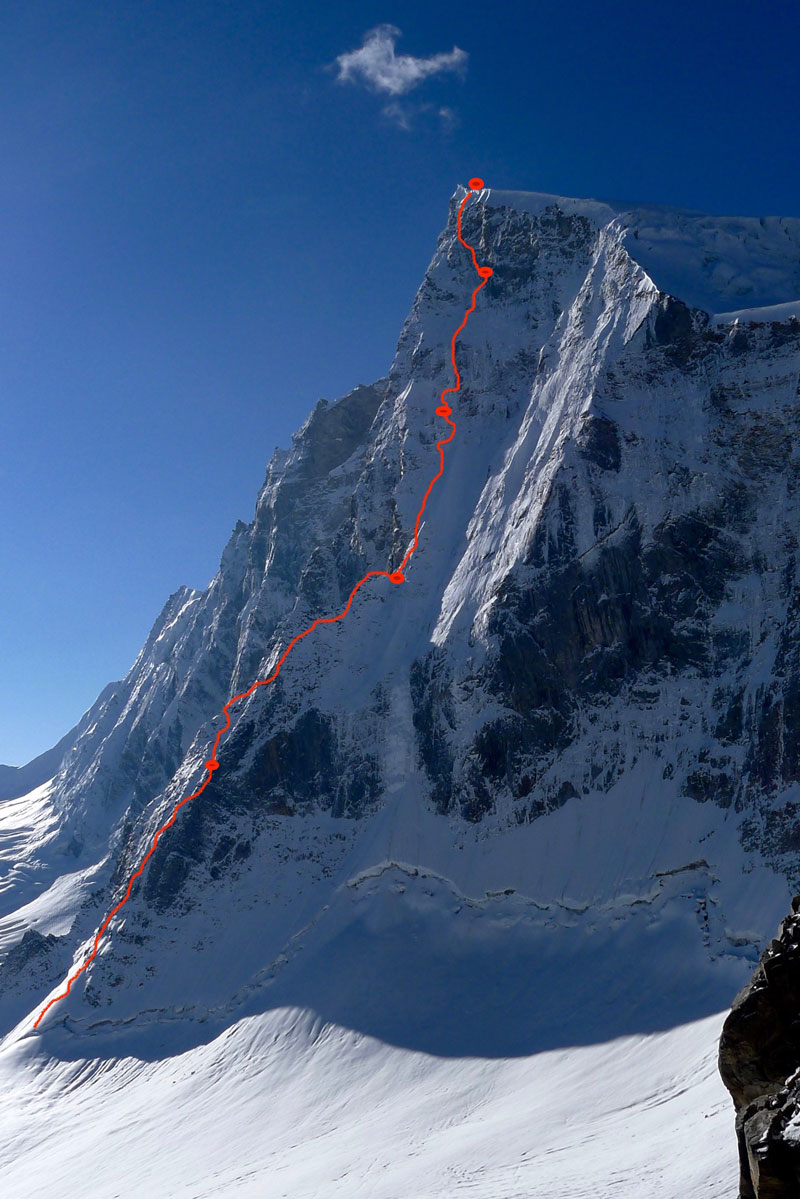 Line shows the route of ascent on Sersank with blobs being bivouacs