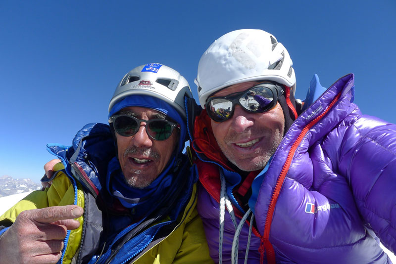Sersank summit selfie by Vic Saunders left and Mick Fowler