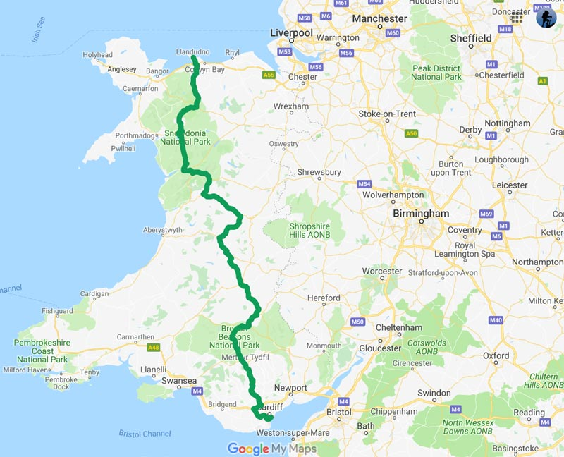 Adventures on The Cambrian Way - North to South by road. Stage 1