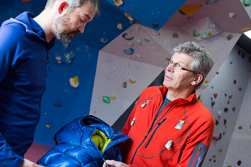 James Hodgson left and Berghaus athlete Mick Fowler discuss new Extrem developments 002