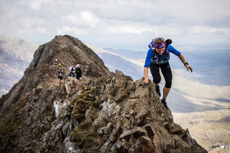 Lisa Watson tackles Crib Goch on day one of the 2019 Berghaus Dragons Back Race copyright No Limits Photography 002