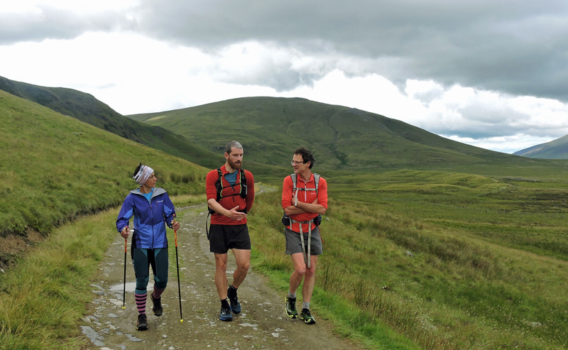 Sabrina Verjee discusses Wainwrights routes with Paul Tierney centre and Steve Birkinshaw on the way from Clough Head to Dockray