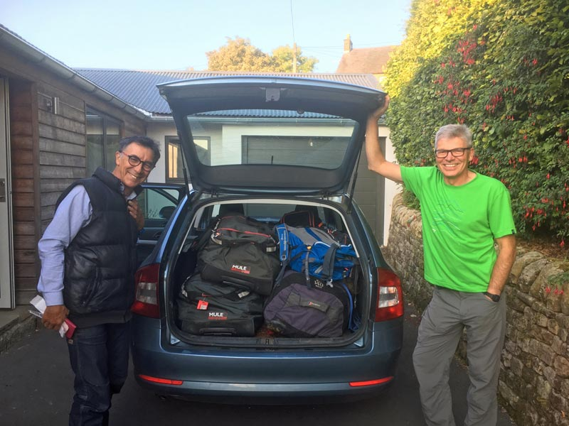 Victor Saunders left and Mick Fowler with their equipment just before heading to the Himalaya