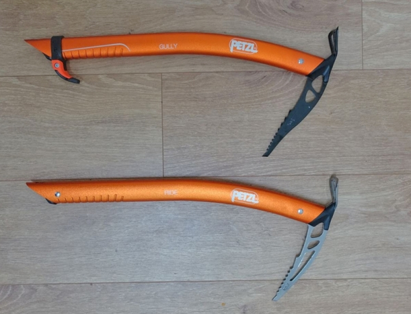 Petzl Gully v Petzl Ride: 2 ice axes, so similar but so different
