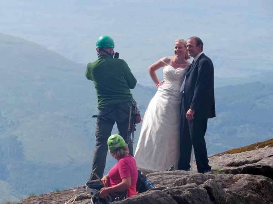 Welsh couple get Cioch summit wedding photo after 2 year wait